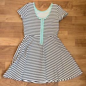Aqua Black & white striped dress